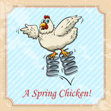 Chicken bouncing on spring Royalty Free Stock Image
