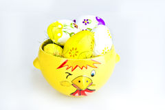 Chicken Bowl and Easter Eggs Stock Image