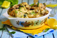 Chicken braised in sour cream with herbs. Stock Images
