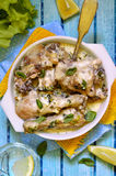 Chicken braised in sour cream with herbs. Royalty Free Stock Photo