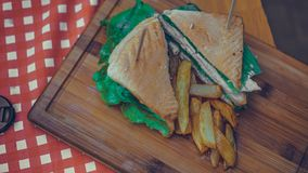 Chicken Bread With French Fries stock image