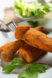 Chicken in the breadcrumbs. Crisp chicken legs  in the golden breadcrumbs Stock Photos