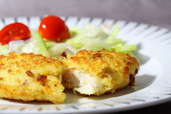Chicken breadcrumbs salad B Stock Photos