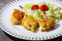 Chicken breadcrumbs salad E Royalty Free Stock Photo