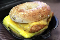 Chicken Breakfast Sandwich. Made with bagels, cheese, egg, and fried chicken Stock Photo