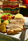 Chicken Breast. Grilled chicken breast with mango salsa and baked potatoes stock image