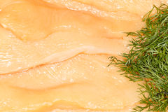 Chicken Breast. Close-up of raw fillets of chicken breast texture. Decorated with some dill herb. Horizontal view Royalty Free Stock Photo