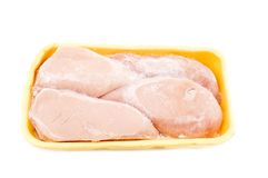 Chicken breast. Object on white - raw food Frozen Chicken breast Royalty Free Stock Photos