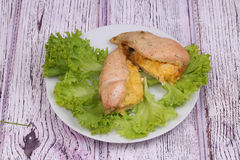 Chicken breast baked with cheese submitted on leaves of green salad Stock Photography