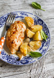 Chicken breast baked with potatoes Royalty Free Stock Photo