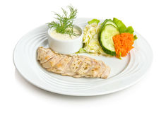 Chicken breast baked in wine. With vegetable side dish Stock Images