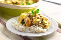 Chicken breast and cauliflower casserole with rice Stock Images