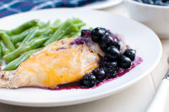 Chicken breast with cheese and blueberry sauce Royalty Free Stock Images