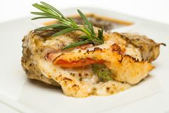 Chicken breast with cheese and rosemary herb. Closeup stock photo