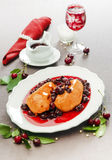 Chicken breast in cherry sauce Stock Images