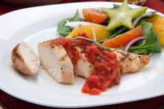 Chicken Breast with Citrus Salad. Stock Photo