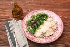 Chicken breast with cream sauce and green Royalty Free Stock Photos