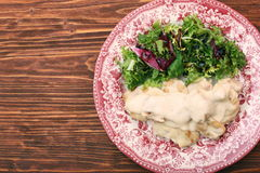 Chicken breast with cream sauce and green Royalty Free Stock Images