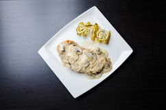 Chicken Breast in Creamy White Wine and Mushroom Sauce Royalty Free Stock Photos
