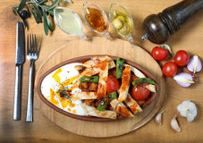 Chicken breast cuts with yogurt and vegetables. Ans sause on wooden table Stock Image