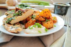Chicken breast fillet with fried potatoes Royalty Free Stock Photos
