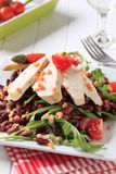 Chicken breast fillet with lentil and bean salad Stock Photo