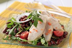 Chicken breast fillet with lentil and bean salad Royalty Free Stock Photos