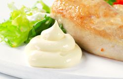 Chicken breast fillet with mayonnaise Royalty Free Stock Photo