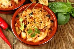 Chicken breast fillet in Mediterranean sauce, tapas Stock Photo
