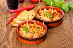 Chicken breast fillet in Mediterranean sauce, tapas Royalty Free Stock Images