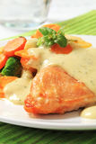 Chicken breast fillet with  mixed vegetables and herb sauce Stock Images