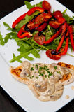 Chicken breast fillet with mushrooms Stock Image