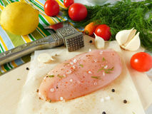 Chicken breast fillet with spices. Chicken breast fillet with different spices on the kitchen table prepared for cooking stock image