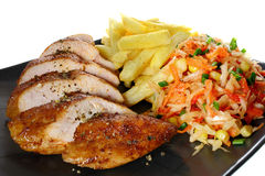 Chicken breast with  french fries Stock Photo