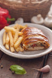 Chicken breast in a French pastry. Royalty Free Stock Image