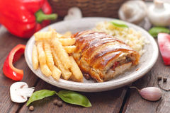 Chicken breast in a French pastry. Royalty Free Stock Images