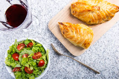 Chicken breast in french pastry with fresh salad Royalty Free Stock Photos