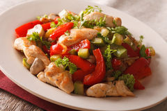 Chicken breast fried with mushrooms, peppers and zucchini closeu Royalty Free Stock Photos