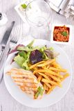 Chicken breast and fries Royalty Free Stock Image