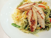 Chicken breast with Fusilli. Chicken breast with colorful Fusilli (pasta Royalty Free Stock Photography