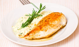 Chicken breast with garnish Stock Images