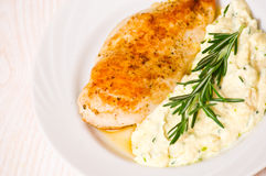 Chicken breast with garnish Royalty Free Stock Images