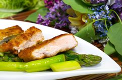 Chicken breast on green asparagus Royalty Free Stock Photos