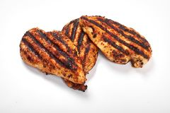 Chicken breast. Grilled fillet pieces on white background. stock photos