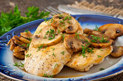 Chicken breast grilled with mushrooms Royalty Free Stock Photo
