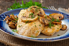 Chicken breast grilled with mushrooms Stock Photography