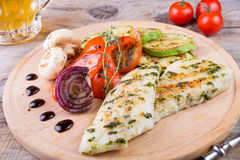 Chicken breast with grilled vegetables Royalty Free Stock Image