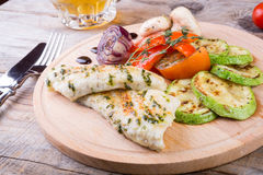 Chicken breast with grilled vegetables Stock Images