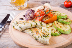 Chicken breast with grilled vegetables Stock Photography