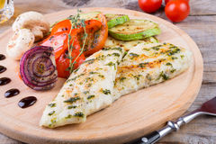 Chicken breast with grilled vegetables Stock Photo